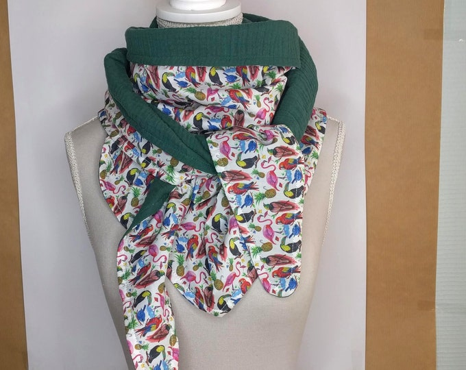 "Headscarf triangle cotton, liberty ""birds of paradise"" and green"