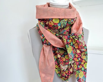 Cotton triangle scarf, multicolored floral liberty and salmon