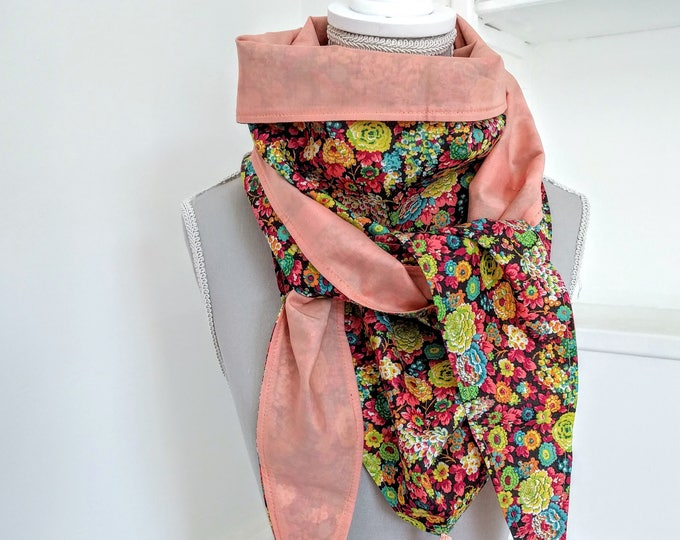 Cotton triangle scarf, salmon and multicolored flowers liberty