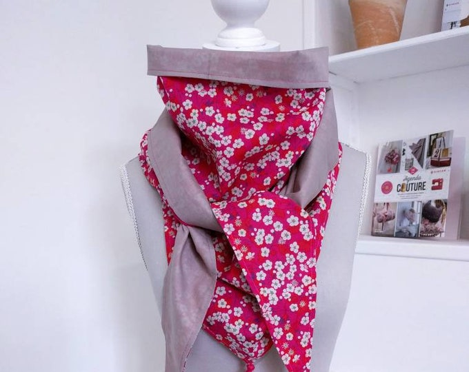 Cotton triangle scarf, liberty Mitsi pink and red