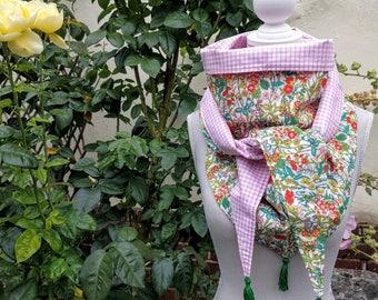 Headscarf triangle cotton, liberty, thousand flowers