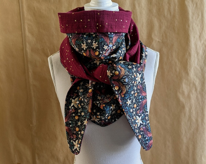 Cotton triangle scarf, Liberty Forbidden fruit, burgundy