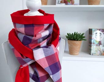 Triangle tassel scarf, plaid and Red