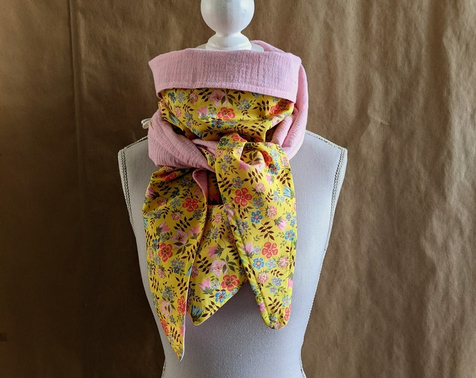 Cotton triangle scarf, Liberty Edenham yellow