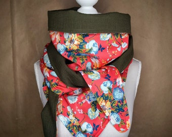 Triangle cotton scarf, liberty magical bouquet Red