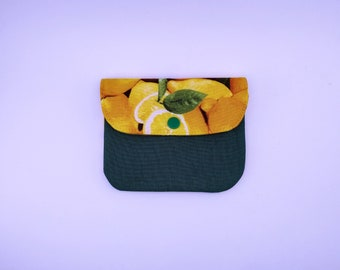 Purse quilted, lemon and green