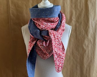 Cotton triangle scarf, Liberty Claire - Emily