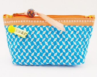 Purse quilted large prints, blue and orange bis