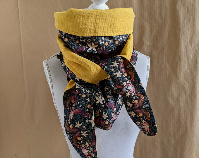 Cotton triangle scarf, Liberty Forbidden fruit, mustard