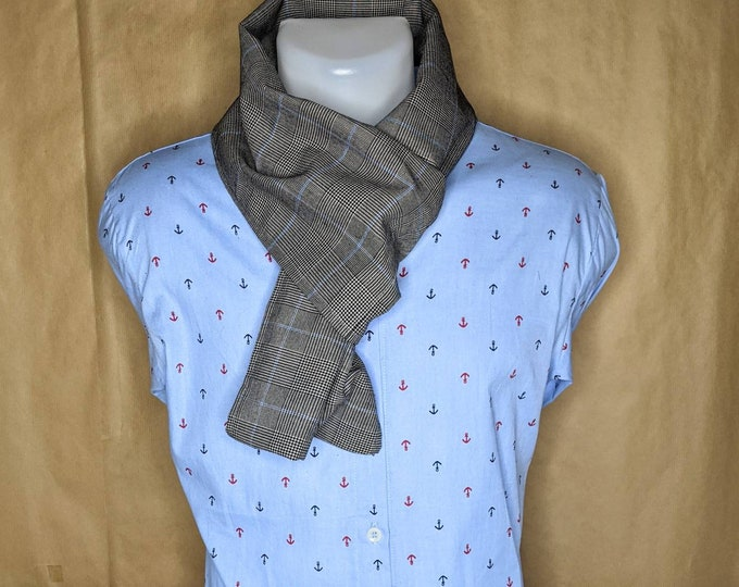 Snood, grey and blue Scottish tartan