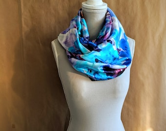 Silk Snood, Blue Watercolor