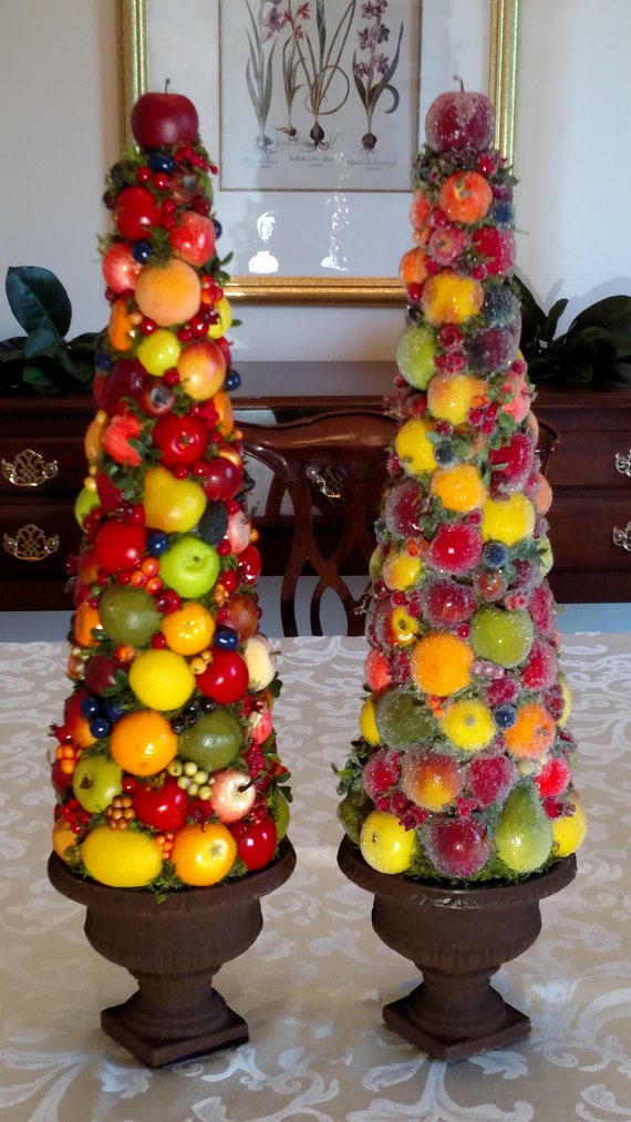 Christmas Topiary.Christmas Topiary Sugared Or Plain Fruit Dining Table Centerpiece