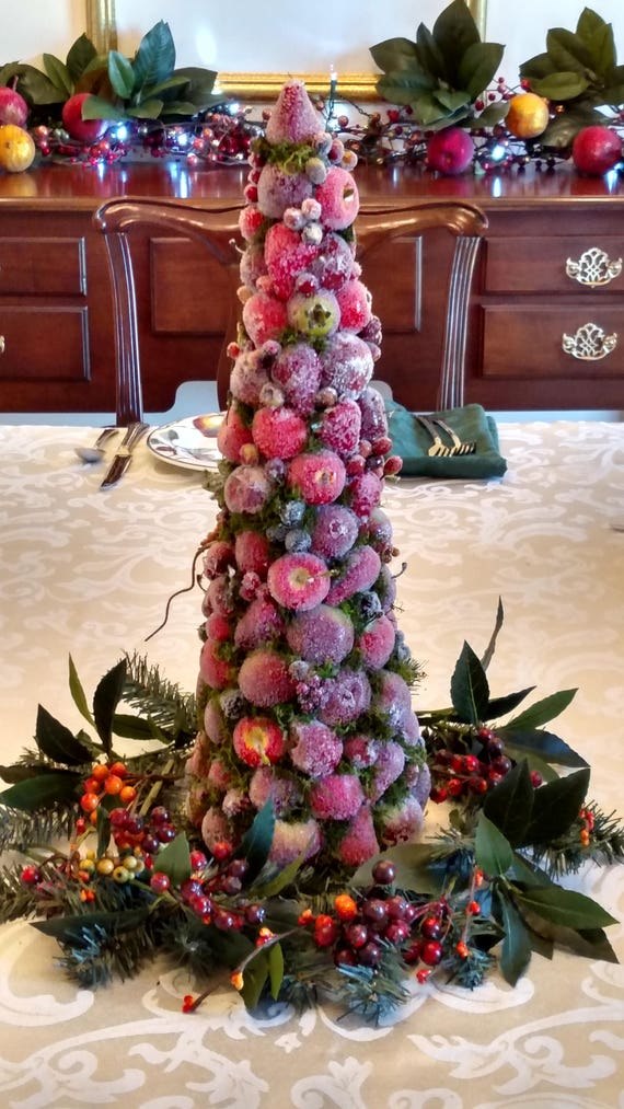 Sugared fruit christmas topiary dining table centerpiece