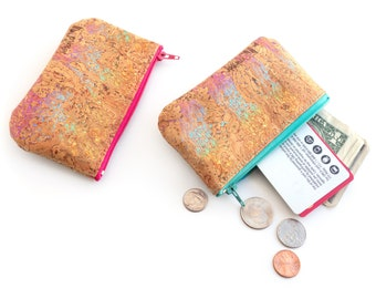 Vegan coin purse made with rainbow cork fabric. Small zip pouch.