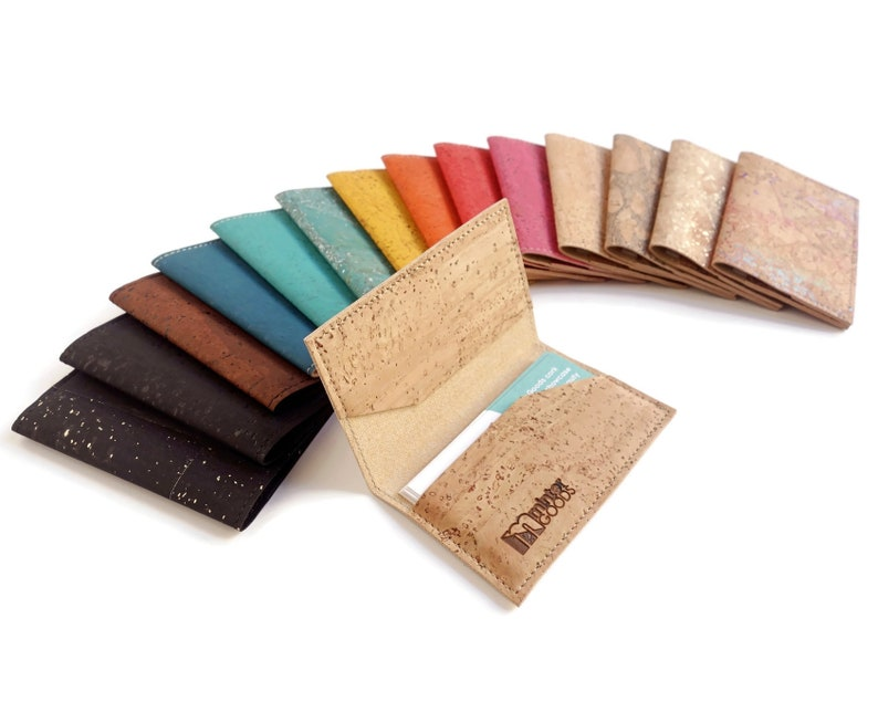 Cork business card case many colors. Business card holder. image 0