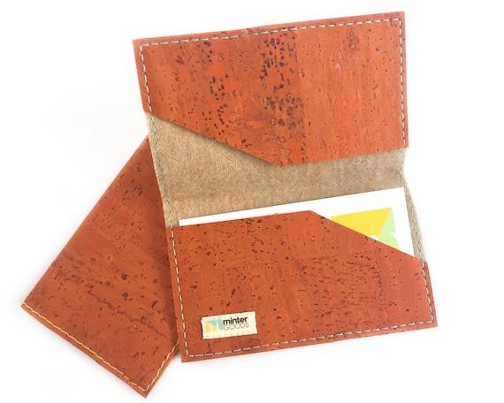 Cork business card case orange cork fabric card case card etsy image 0 colourmoves