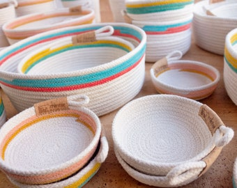 Rope bowls, various sizes. Storage bowls made of cotton clothesline. Entry way basket.