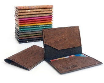 Leather card holder. Cork leather thin wallet. Vegan leather business card holder.