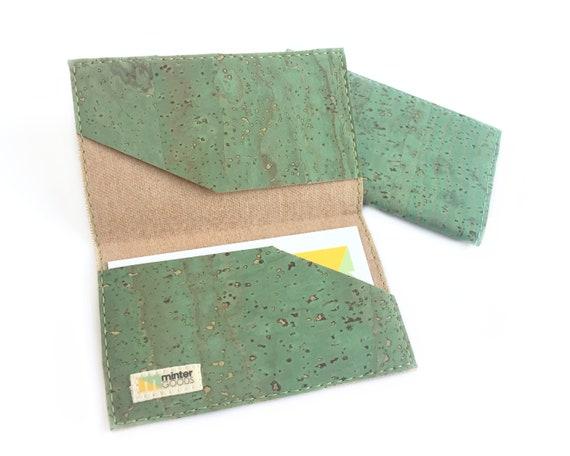 Cork card case green cork fabric business card case card etsy image 0 colourmoves