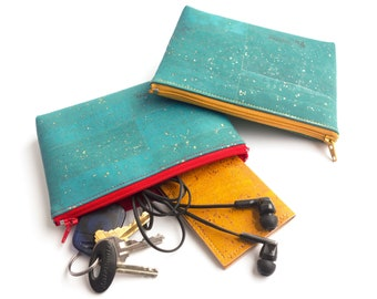 Medium zipper pouch in teal cork leather with gold. Vegan leather. Zipper clutch. Cork clutch. Cork fabric