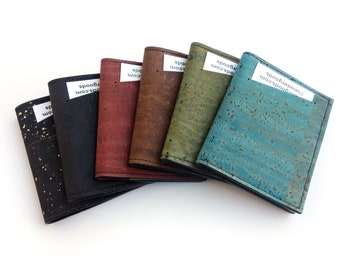 Cork slim wallet, various colors. Vegan leather small wallet for folded cash. Credit card carrier with outer slit.