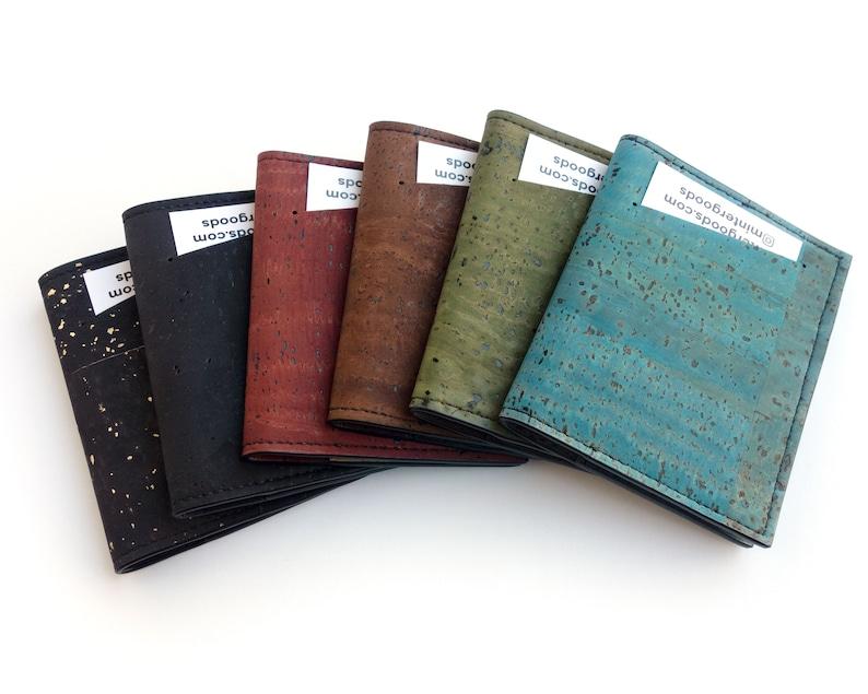 Cork slim wallet various colors. Vegan leather small wallet image 0