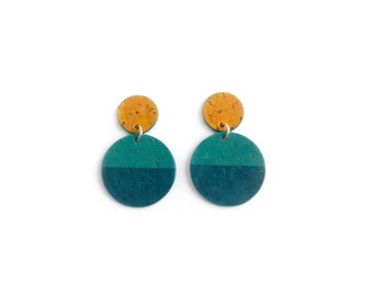 Cork earrings. Bold colors, lightweight statement jewelry. Two circles. Mustard yellow and teal.
