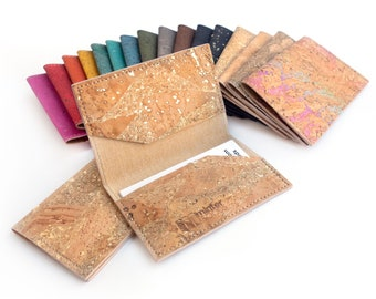 Cork card holder with gold flecks. New job gift. Mini wallet. Perfect for credit and business cards.
