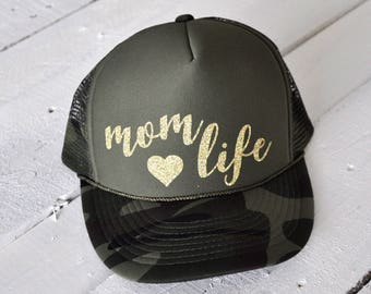 MOM LIFE, custom glitter camo trucker hat
