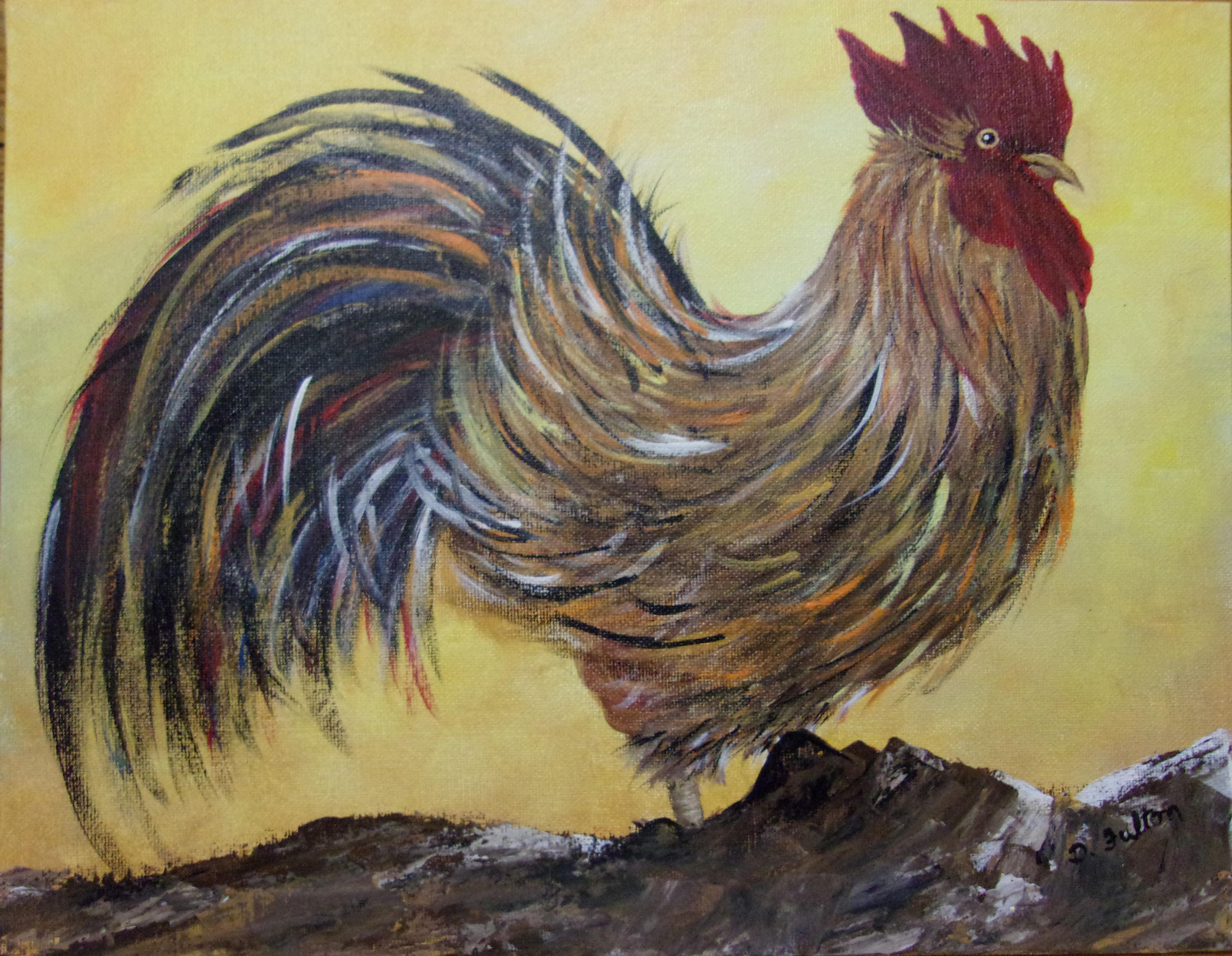Original Rooster Painting 11 X 14 Kitchen Decor Rooster Wall Etsy