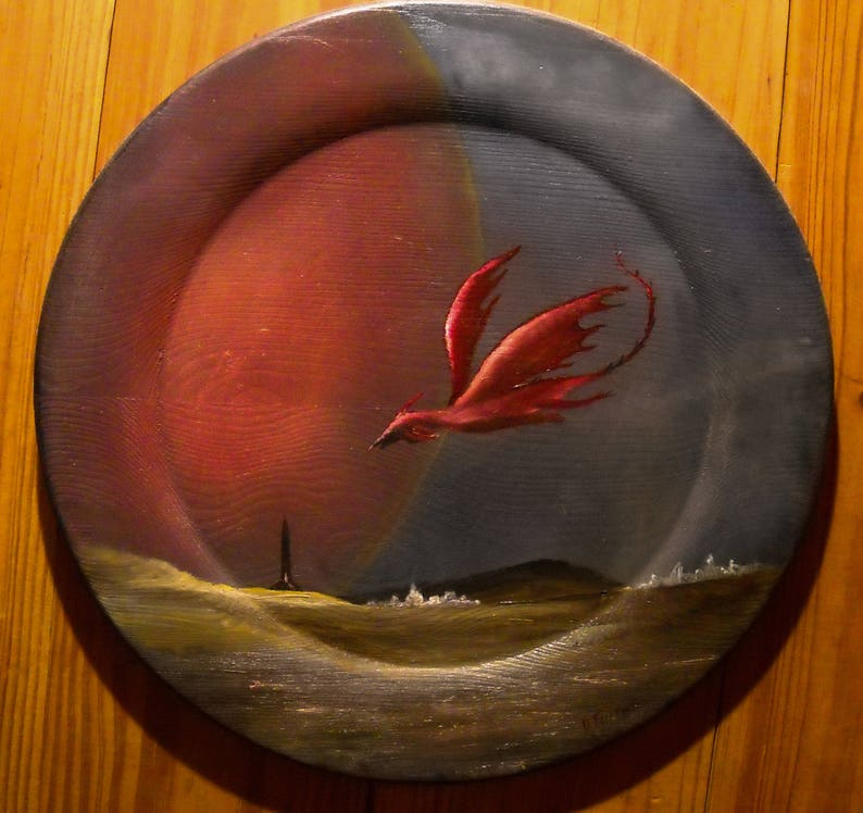 Fantasy Art, Outer Space Decor, Dragon Landscape Wall Decor, Red Dragon  Wall Art, Outer Space Fantasy, Original Painting Fantasy Art