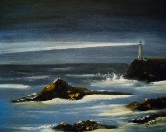 Lighthouse Coastal Art Seascape Ocean Painting, Nautical Beach Decor, Seascape Lighthouse Original Art, Seaside Ocean Landscape, Gift
