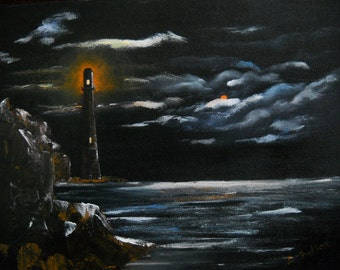 Original Lighthouse Seascape Ocean Painting, Ocean Landscape, Gothic Dark Night Ocean Painting, Night Sky Wall Decor, Nautical Wall Hanging