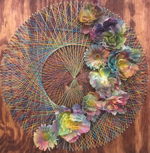 Colorful Mandala With Flowers String And Nail Art On Wood Etsy