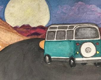Watercolor Desert Landscape with Volkswagen Artwork