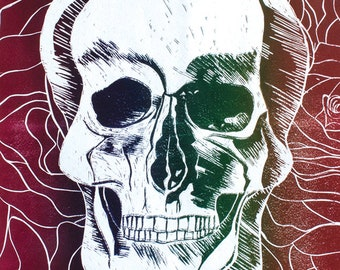 Linocut Skull & Roses Fine Art Print