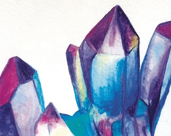 Colorful Crystals Watercolor Painting Fine Art Print