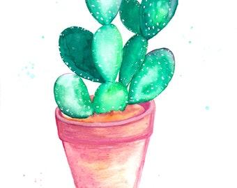 Watercolor Cactus Painting Fine Art Print