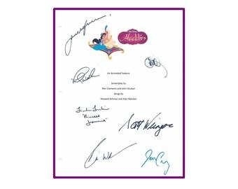 disneys aladdin movie signed script rpt scott weinger robin williams jonathan freeman frank welker linda larkin
