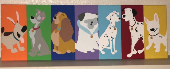 Disney Dogs Canvas Lady And The Tramp Mulan Bolt 101 Etsy