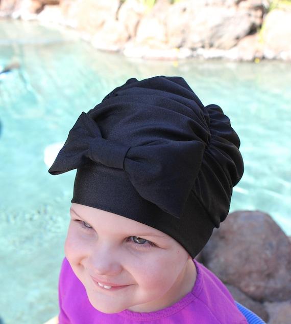 Black Ruched Swim Cap Swim cap Baby swim cap toddler swim  74d0664fbe1