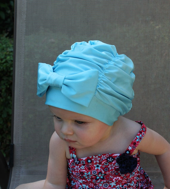 Blue Ruched Swim Cap Swim cap Baby swim cap toddler swim  b7d31e42771