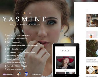 "WordPress Blog Theme ""Yasmine"" WordPress Theme WooCommerce feminine WordPress template Shop and Portfolio"