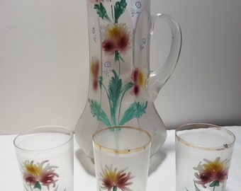 Vintage hand painted frosted glass pitcher and 3 glasses