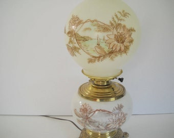 Double Hurricane Lamp Decorated in Pink and Green