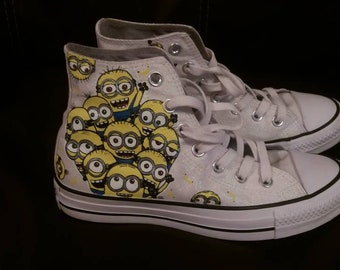 14c0739a86a1 Custom Hand painted converse high tops minions sealed signed and original  adult kid or baby shoes