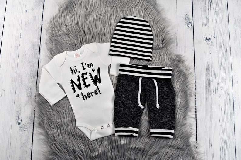 cfe90e216 Baby boy clothes hi i'm new here baby boy outfit hello | Etsy