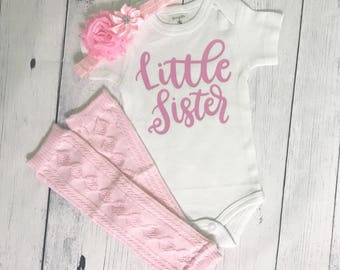 Little Sister Coming Home Outfit Newborn Girl Outfit Baby Girl Coming Home Outfit Little Sister Outfit Little Sister Bodysuit Little Sister