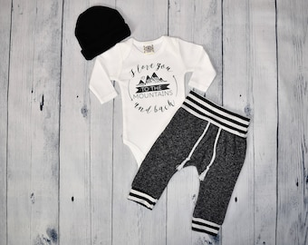 Newborn Boy Coming Home Outfit Baby Boy Take Home Outfit Newborn Outfit Adventure Baby Outfit I Love You To The Mountains And Back