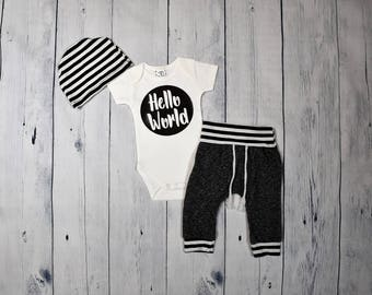 Hello World Coming Home Outfit Baby Boy Outfit Newborn Boy Take Home Outfit Coming Home Set Newborn Outfit Take Me Home Set